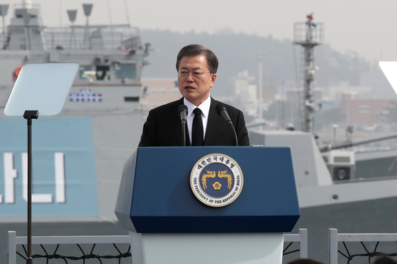 President Moon Jae-in speaks at a ceremony marking the sixth Yellow Sea Defense Day at the Navy's 2nd Fleet Command in Pyeongtaek, Gyeonggi, on Friday, a day after North Korea fired two short-range ballistic missiles into the East Sea. [YONHAP]