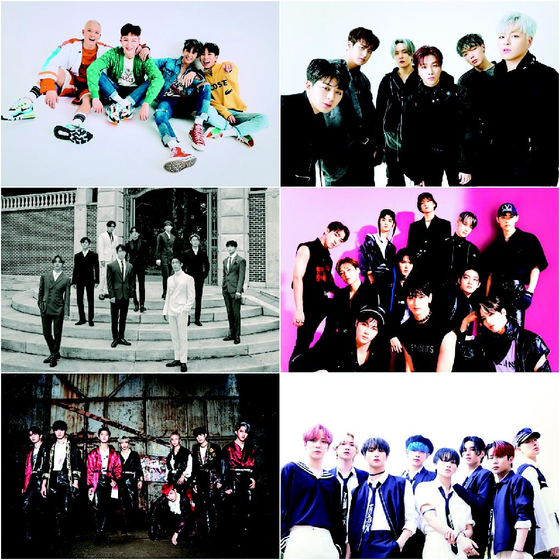 The six boy bands competing in Mnet's TV show ″Kingdom: Legendary War.″ [MNET]