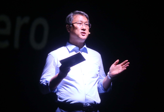 Park Jae-hyeon, K-water CEO and AWC president, during an event in 2020. [YONHAP]