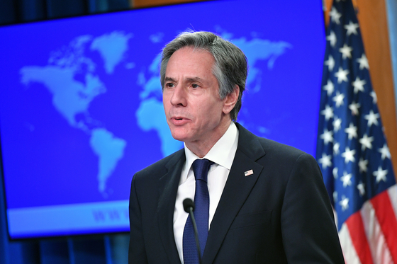 U.S. Secretary of State Antony Blinken speaks on the release of the State Department's 2020 Country Reports on Human Rights Practices in Washington Tuesday. [AP/YONHAP]