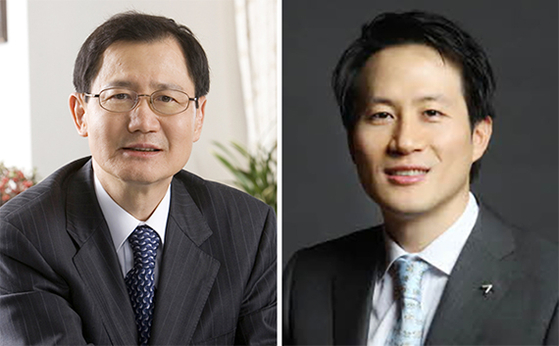 Kumho Petrochemical Chairman Park Chan-koo, left, and Park Chul-whan, the company's largest shareholder. [JOONGANG PHOTO]