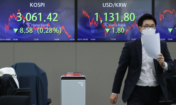 Electronic signboards in a Hana Bank dealing room in Seoul show the Kospi closing at 3,061.42 on March 31, 2021, down 8.58 points, or 0.28 percent, from the previous session's close. [YONHAP]