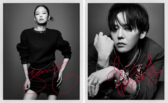 K-pop stars Jennie of Blackpink, left, and Big Bang's G-dragon are house ambassadors for French luxury fashion brand Chanel. [CHANEL]