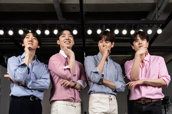 Popera group Letteamor will go on a national concert tour starting from April. From left, members Park Hyun-soo, Gil Byeong-min, Kim Sung-sik and Kim Min-seok. [KIM HYUN-DONG]