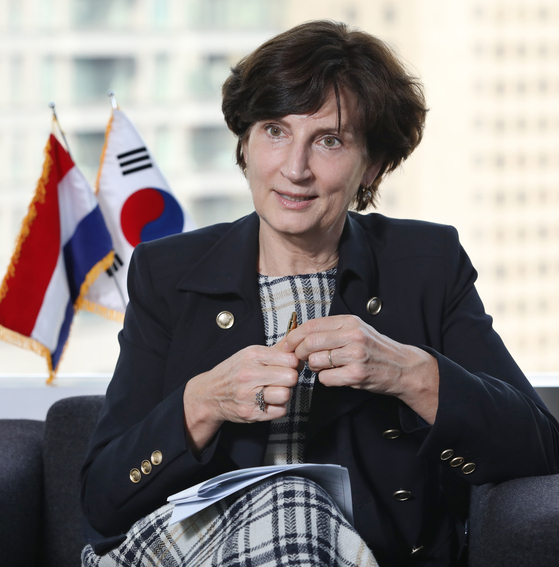Ambassador of the Netherlands to Korea, Joanne Doornewaard, speaks with the Korea JoongAng Daily about the 60 years of the Netherlands-Korea relations at the Dutch Embassy in Seoul on March 16. [PARK SANG-MOON]
