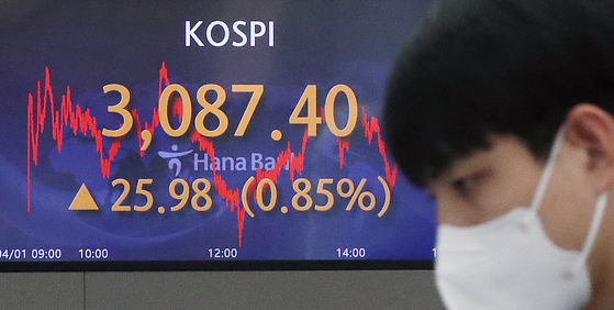 A screen at a Hana Bank trading room in Seoul shows the Kospi closing at 3,087.40 on Thursday, up 25.98 points, or 0.85 percent, from the previous session's close. [YONHAP]