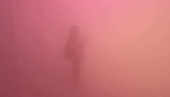 """""""Green, Yellow, Pink"""" (2017), one of the two works that artist Ann Veronica Janssens contributed to the Seoul leg of ″CONNECT, BTS″ exhibition project held at the Dongdaemun Design Plaza in central Seoul, highlights the materiality of light by using mist to create a foggy effect. [JEON TAE-GYU]"""