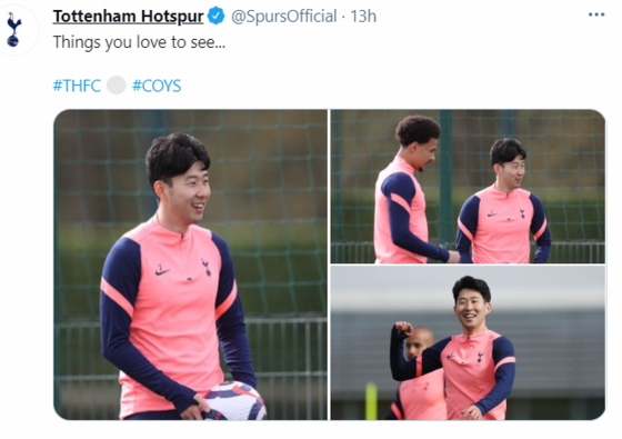 An image shared on Tottenham Hotspur's official Twitter account shows Son Heung-min returning to training on Thursday. [SCREEN CAPTURE]