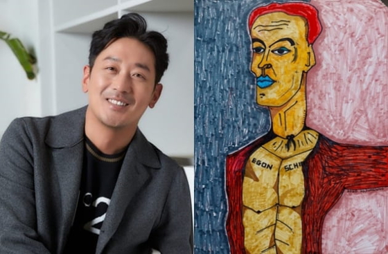 "Actor Ha Jung-woo, left, and one of his artworks showcasing at his exhibition ""At Home"" in Pyo Gallery in central Seoul. [PYO GALLERY]"