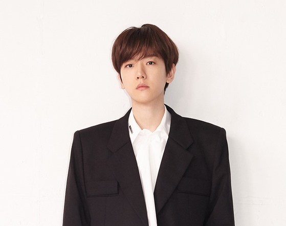Singer Baekhyun, a member of K-pop boy band Exo, in an online press conference for his solo EP ″Bambi″ on March 30. [SM ENTERTAINMENT]
