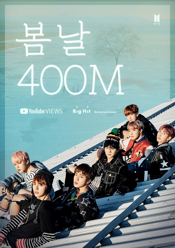 "The music video for boy BTS's ""Spring Day"" surpassed 400 million views on YouTube as of Monday. [BIG HIT ENTERTAINMENT]"