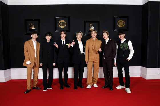 BTS at the Grammy Awards held last month [YONHAP]
