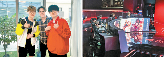 Left: T1 CEO Joe Marsh takes photos with T1 players Teddy, left, and Faker, right. Right: T1's League of Legends team compete at the 2020 LCK Summer League at the LoL PARK - LCK Arena in central Seoul. T1 finished the tournament in fourth place. [SCREEN CAPTURE, RIOT GAMES]