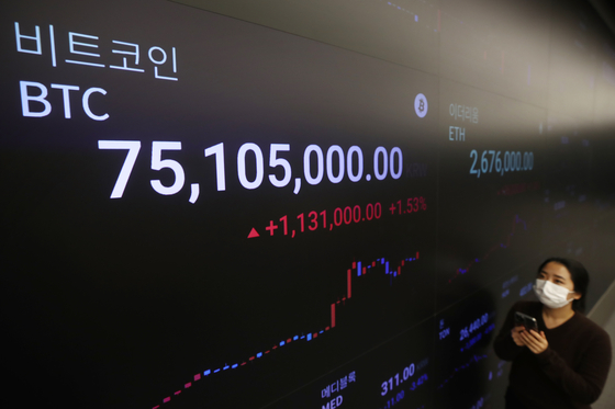 A digital screen at Upbit, a cryptocurrency exchange in Gangnam District, southern Seoul, shows the price of bitcoin exceeding 75.1 million won ($66,560) as of Monday morning. [YONHAP]
