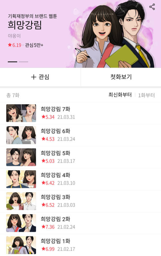 Webtoonist Yaongi's ″Hope is Here″ brand webtoon, funded by the Ministry of Economy and Finance, has been seeing low scores since its first episode on Feb. 17. [SCREEN CAPTURE]