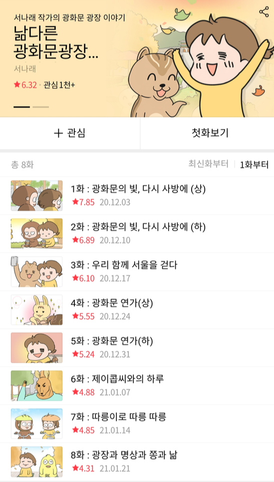 "An 8-episode brand webtoon series ""Narm's Gwanghwamun Story"" by webtoonist Seo Na-rae was harshly criticized for promoting the Seoul Metropolitan Government's Gwanghwamun renovation project. [SCREEN CAPTURE]"