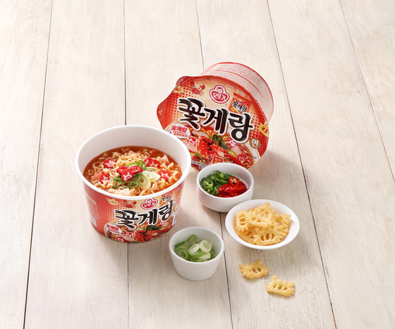 Binggrae's crab-flavored snack Ggotgerang is made into noodles by Ottogi. [OTTOGI]