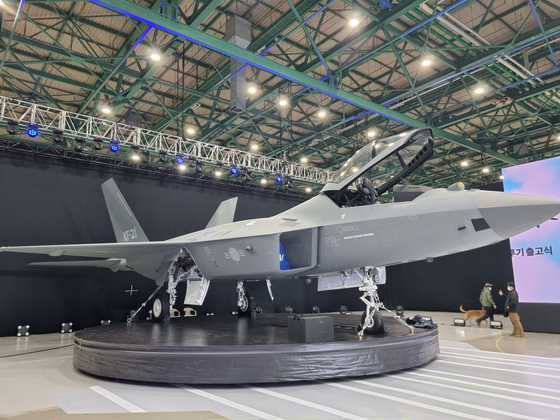 A completed prototype of the KF-21 Boramae awaits its official rollout on Friday at Korea Aerospace Industries's (KAI) headquarters in Sacheon, South Gyeongsang. [NEWS1]