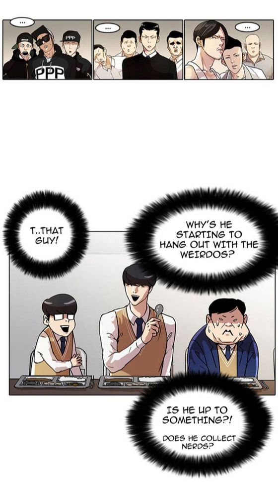 """Scenes from the English version of """"Lookism"""" by Pak Tae-jun shows the main character Daniel hang out with the """"weirdos."""" [SCREEN CAPTURE]"""