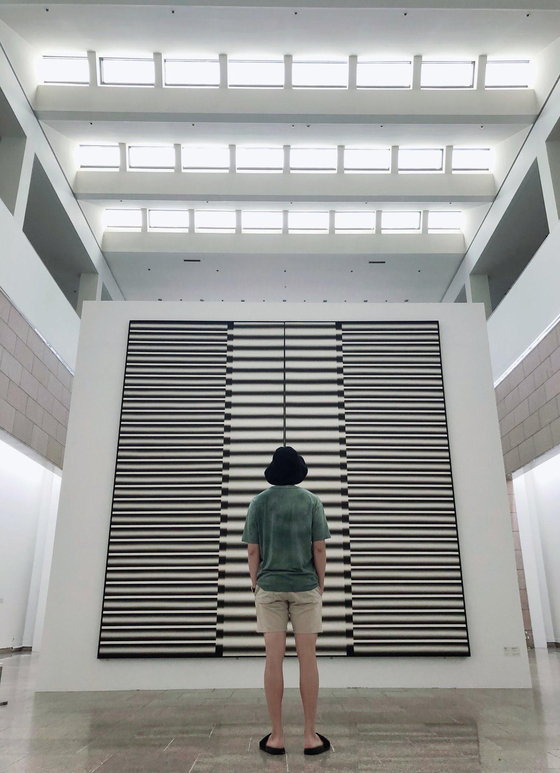 RM of boy band BTS views artwork at National Museum of Modern and Contemporary Art in Gwacheon, Gyeonggi. [SCREEN CAPTURE]