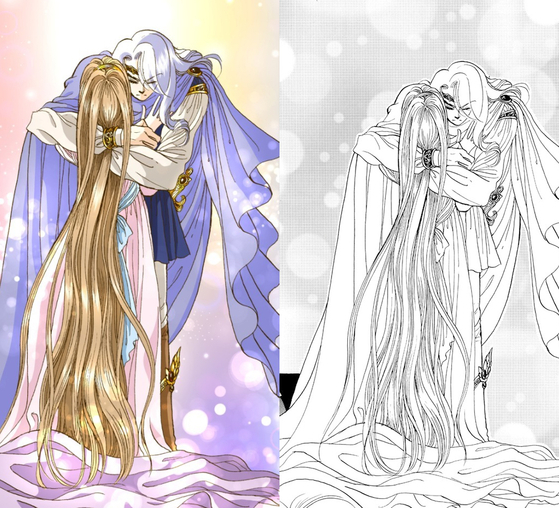 "The colored webtoon version (left) versus the original black and white illustration (right) for ""Princess"" by cartoonist Han Seung-won [KAKAO PAGE]"