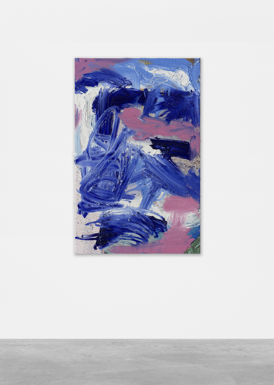 "American artist Donna Huanca's 2021 painting ""Azurite Arthropod"" will be presented by the Berlin-based gallery Peres Projects. [PERES PROJECTS]"