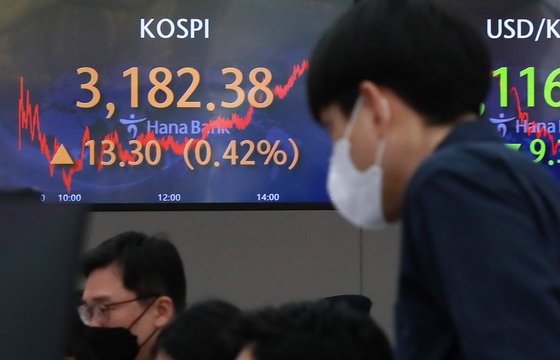 A screen in Hana Bank's trading room in central Seoul shows the Kospi closing at 3,182.38 points on Wednesday, up 13.30 points, or 0.42 percent from the previous trading day. [NEWS1]