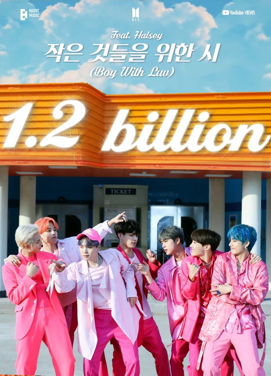 BTS's ″Boy With Luv″ became the band's second music video to surpass 1.2 billion views on YouTube. [BIG HIT MUSIC]