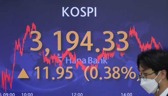 A screen in Hana Bank's trading room in central Seoul shows the Kospi closing at 3,194.33 points on Thursday, up 11.95 points, or 0.38 percent from the previous trading day. [YONHAP]