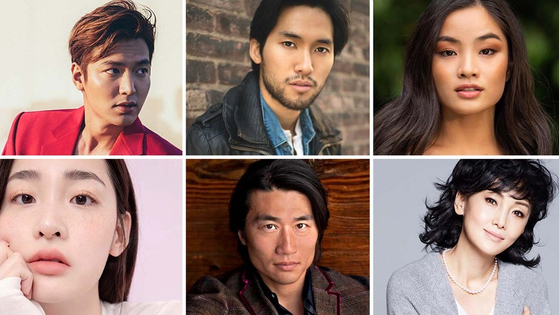 """Cast members of the upcoming Apple TV+ adaptation of """"Pachinko,"""" based on Lee's book. Top from right, actors Lee Min-ho, Jin Ha, Anna Sawai. Above from right, actors Kim Min-ha, Soji Arai and Kaho Minami. [APPLE TV+]"""
