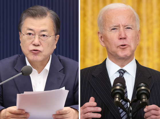 President Moon Jae-in, left, will have a summit with U.S. President Joe Biden in the United States in May, the Blue House said Friday.  [YONHAP]