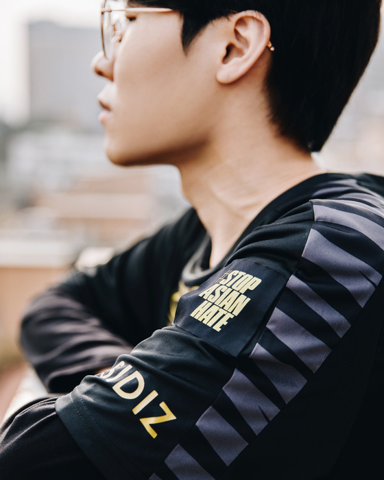 Seong ″Flawless″ Yeon-joon, currently playing for Gen.G's League of Legends Champions Korea squad, sports Gen.G's new Stop Asian Hate patch. [GEN.G ESPORTS]