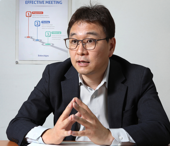 Stanley Kim, Vice President of sales at Telechips, is interviewed at the company's headquarters in Songpa District, southern Seoul, on April 14. [PARK SANG-MOON]