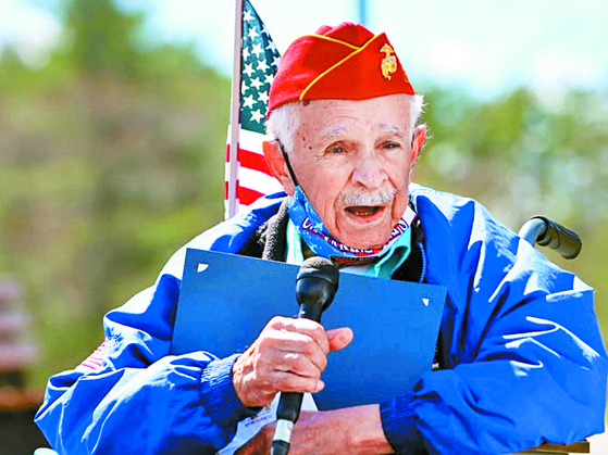 James Ingargiola, a World War II veteran, speaks after he fully recovered from Covid-19 at a hospital in East Bridgewater, Massachusetts, in February. [TOWN OF EAST BRIDGEWATER]