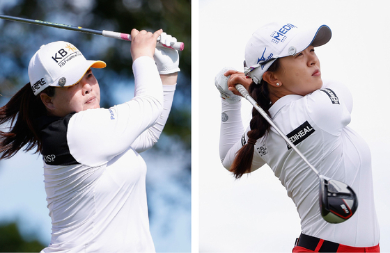 Park In-bee, left, tees off on the sixth hole during the first round on April 14. Kim Sei-young, right, tees off on the first hole during the final round of the LPGA Lotte Championship at Kapolei Golf Club on April 17 in Kapolei, Hawaii. [YONHAP]