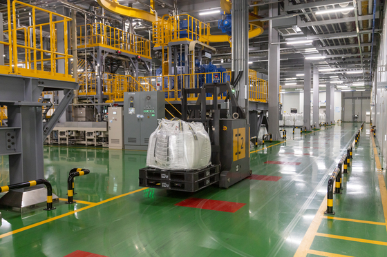 An automated guided vehicle transports a bag of material at Posco Chemical's Gwangyang cathodes factory. [POSCO CHEMICAL]