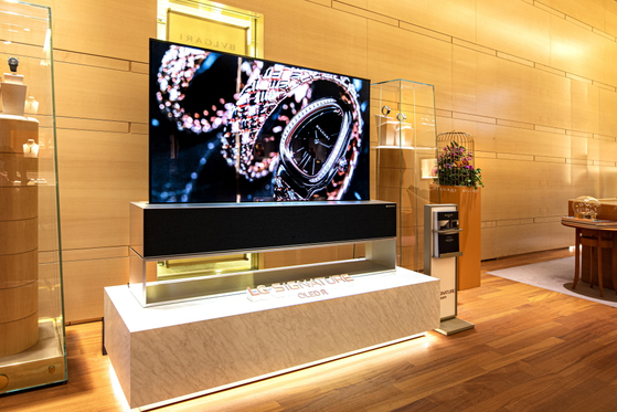 An LG Signature OLED R is on display at a Bvlgari store in Zurich, Switzerland on Monday. The TV was also on display at the Geneva store the same day. [YONHAP]