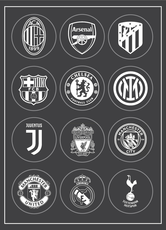 The members of the newly-formed European Super League. [EACH CLUB]
