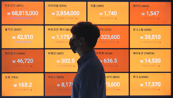 Prices of bitcoin and alternative coins -- cryptocurrencies other than bitcoin -- are displayed on a board operated by cryptocurrency exchange Bithumb in Gangnam District, southern Seoul, on Wednesday. Bitcoin prices fell below 70 million won ($62,600) on Wednesday. [YONHAP]
