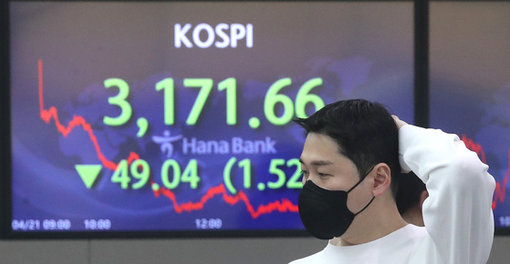 A screen in Hana Bank's trading room in central Seoul shows the Kospi closing at 3,171.66 points on Wednesday, down 49.04 points, or 1.52 percent from the previous trading day. [NEWS1]