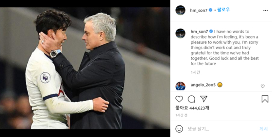 Tottenham Hotspur's striker Sohn Heung-min and its head coach Jose Mourinho. Sohn left a farewell message to Mourinho who quit the team. [AP/YONHAP]