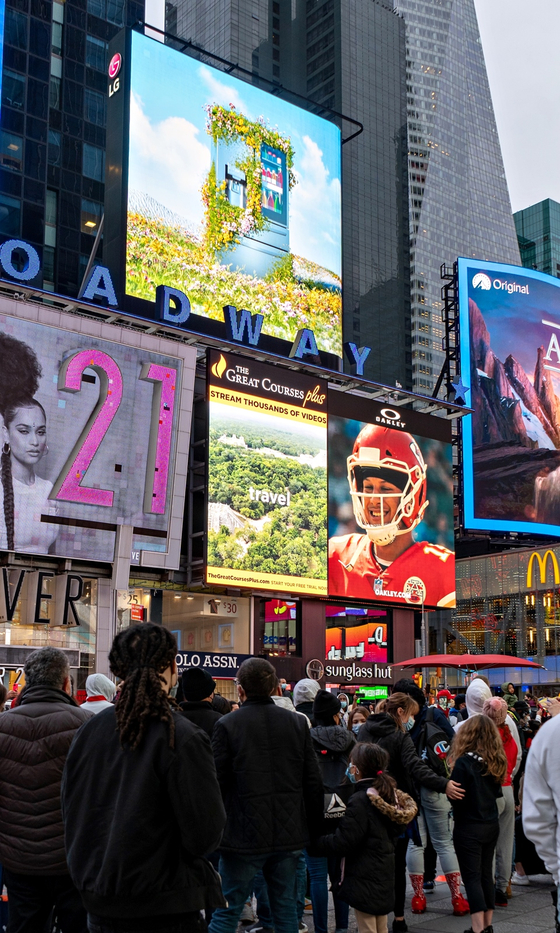 LG Electronics celebrates Earth Day with a signboard in Times Square New York on Thursday. [LG ELECTRONICS]
