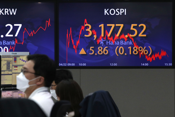 A screen in Hana Bank's trading room in central Seoul shows the Kospi closing at 3,177.52 points on Thursday, up 5.86 points, or 0.18 percent from the previous trading day. [NEWS1]