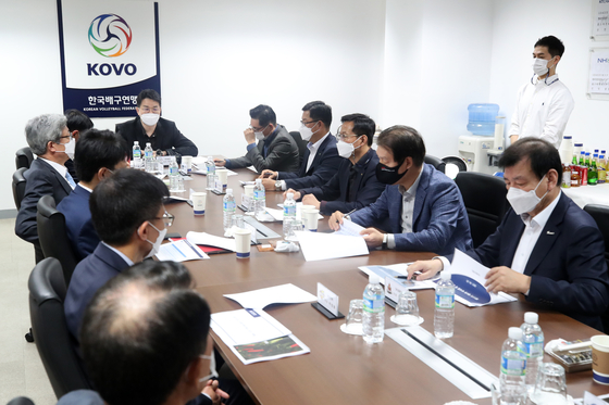 The Korea Volleyball Federation (KOVO) holds a board meeting on Tuesday to discuss the creation of a seventh women's volleyball team run by Pepper Savings Bank at the KOVO office in Mapo District, western Seoul. [News1]