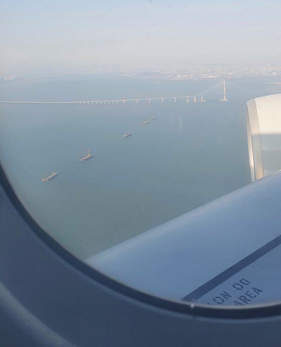 A view of Incheon Bridge from the plane. [HALEY YANG]