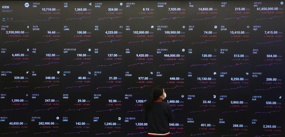 Prices of cryptocurrencies are displayed on a board operated by cryptocurrency exchange Upbit in Gangnam District, southern Seoul, on Monday. [NEWS1]