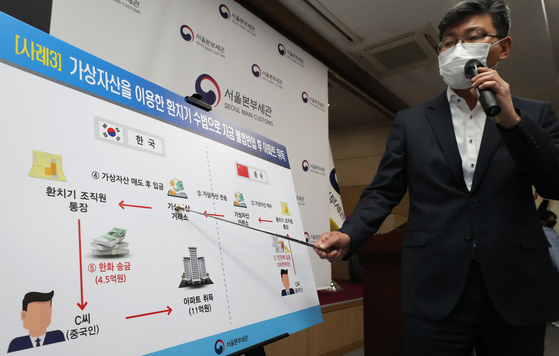 A Korea Customs Service's Seoul office official on Tuesday explaining how cryptocurrency was used by a Chinese in buying an apartment in 2018. [YONHAP]
