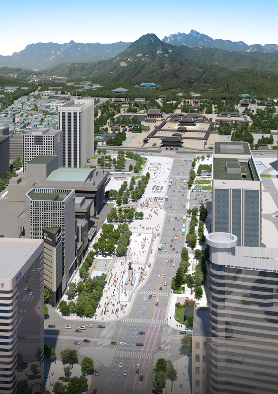 An artist's rendition of Gwanghwamun Square in central Seoul after renovations with a larger plaza and fewer lanes of traffic. [YONHAP]