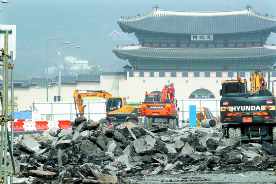 The Gwanghwamun Square in central Seoul undergoing construction in March. [YONHAP]