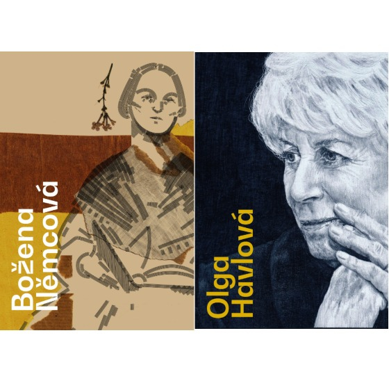 """Portraits of Bozena Nemcova, author of """"The Grandmother,"""" and Olga Havlova, wife of Czech President Vaclav Havel, by students of University of West Bohemia in the Czech Republic. [CZECH CENTRES]"""